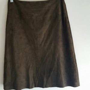Brooks Brothers Skirt A-line Goat Suede Green
